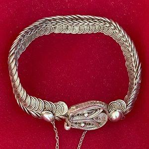 Unique Vintage Sterling Silver Snake Bracelet